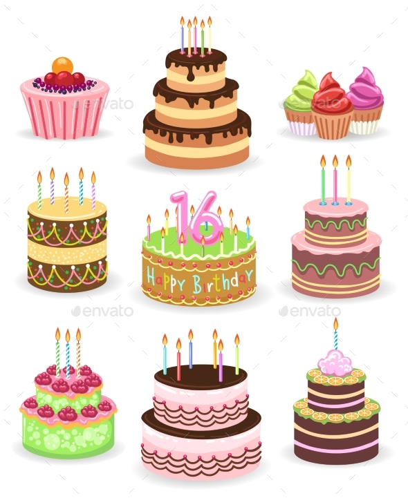 Birthday Cake Set Isolated on White - Objects Vectors