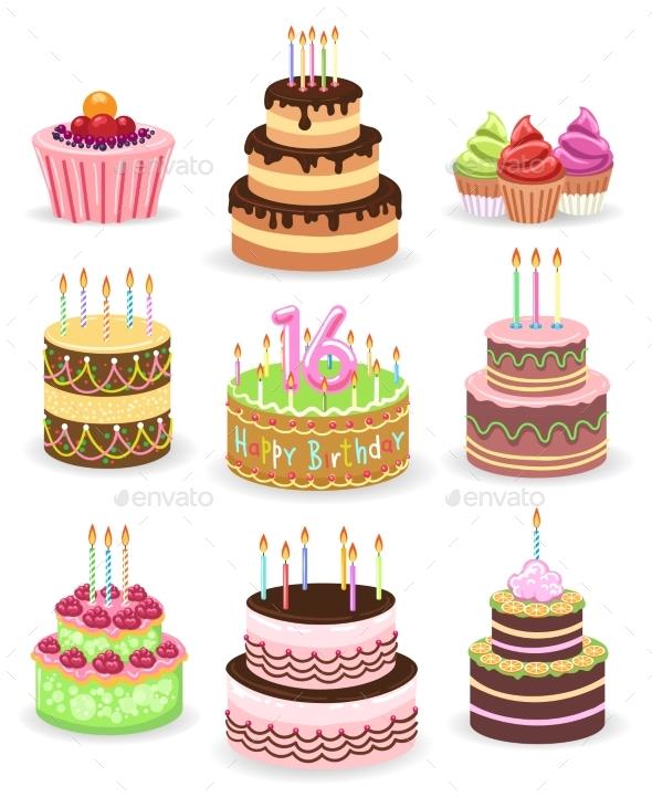 GraphicRiver Birthday Cake Set Isolated on White 20456694