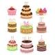 Birthday Cake Set Isolated on White