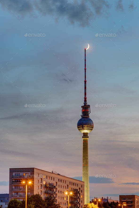 Beautiful sunset in Berlin - Stock Photo - Images