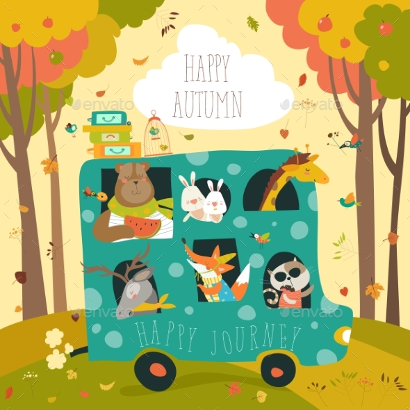 Animals Traveling By Bus - Animals Characters