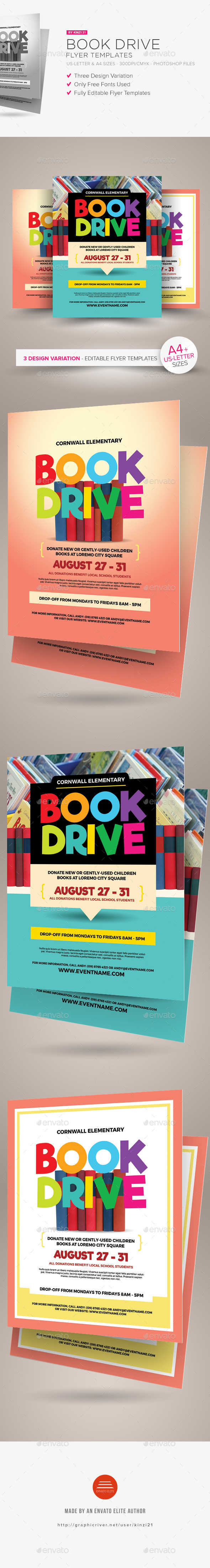 GraphicRiver Book Drive Flyer Templates 20456998