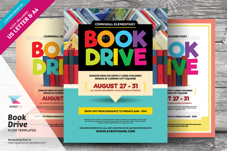 book drive flyer templates by kinzi21