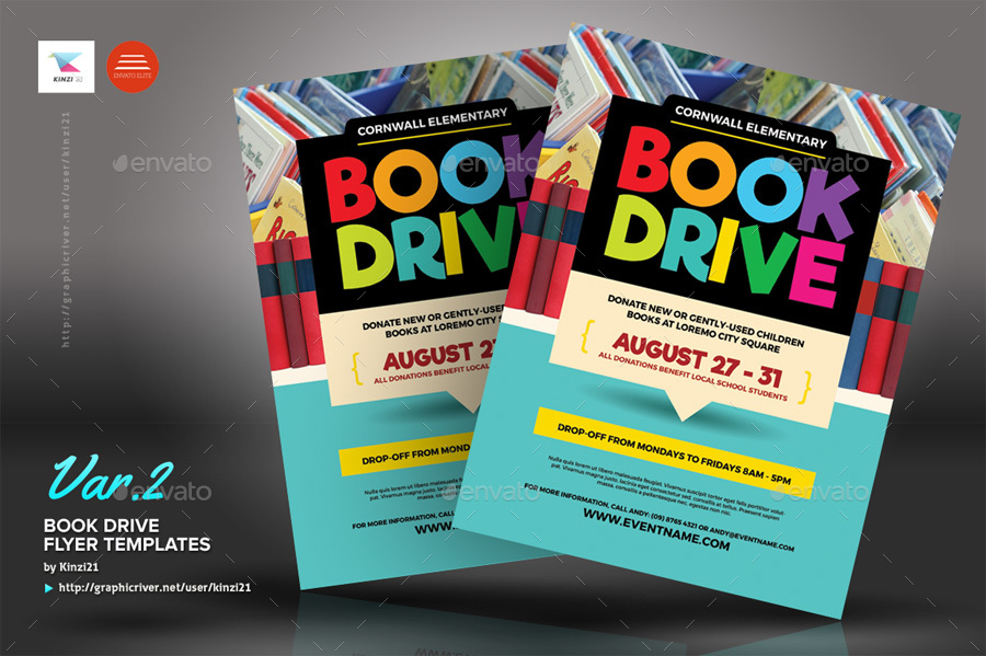 Book Drive Flyer Templates By Kinzi21 Graphicriver