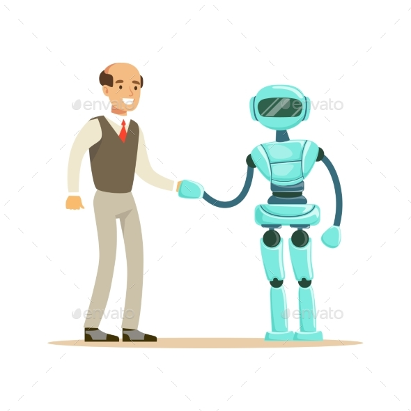 Humanoid Robot Shaking Hand with Businessman - Computers Technology