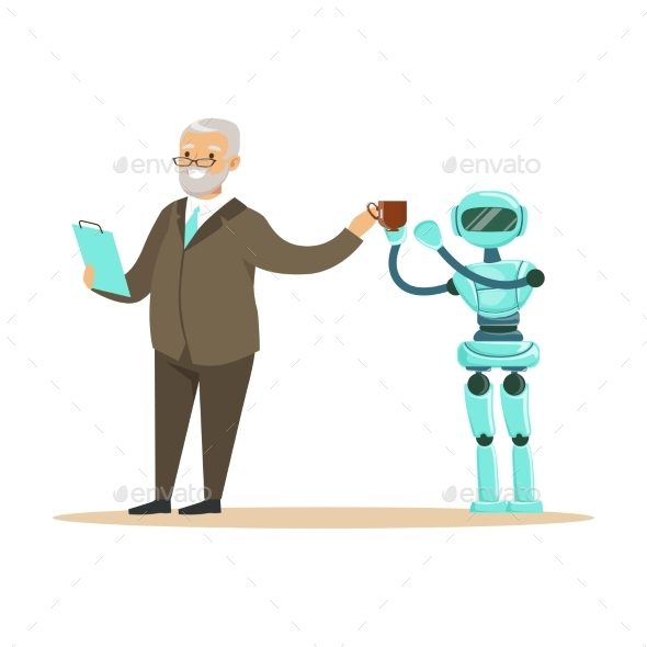 Humanoid Robot Bringing Coffee for a Smiling - Computers Technology
