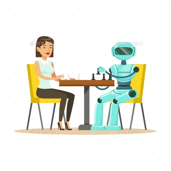 Businessman and Robot Playing Chess Vector - Computers Technology