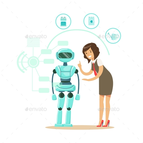 Businessman Giving Directions To Humanoid Robot - Computers Technology