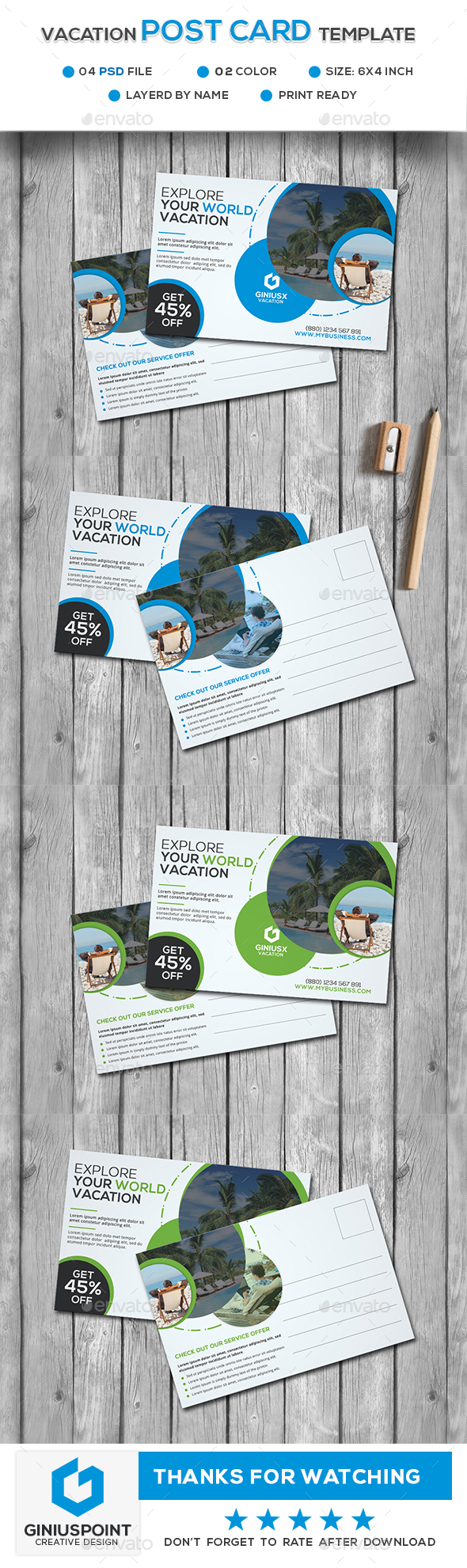 Vacation Post Card Tamplate - Cards & Invites Print Templates