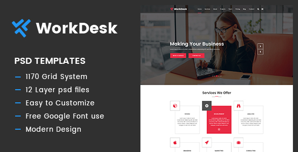 WorkDesk - Multipurpose PSD Template