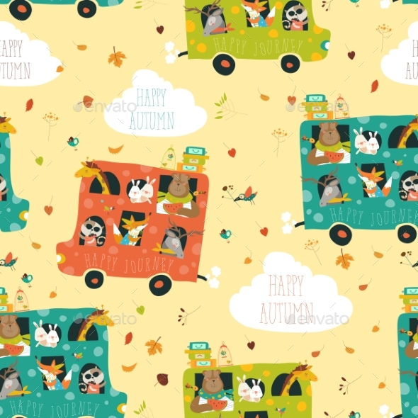 Animals Seamless Pattern Traveling By Bus - Animals Characters