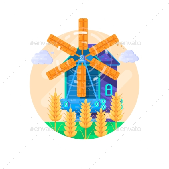 Rural Summer Landscape with Windmill. Vector - Industries Business