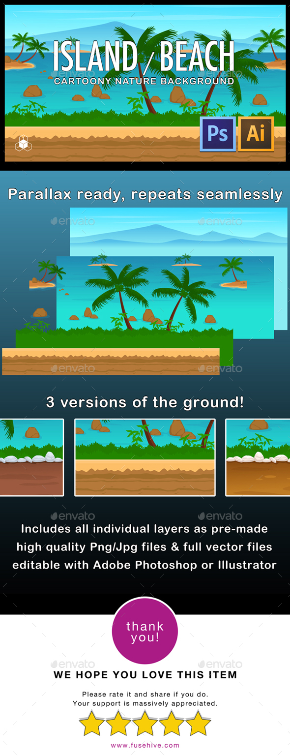 2D Island Beach Parallax Nature Background - Backgrounds Game Assets