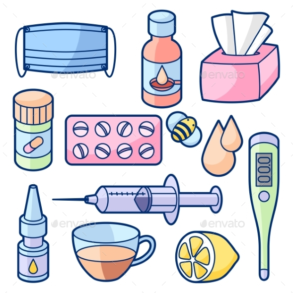 GraphicRiver Medicines and Medical Objects Set 20457722