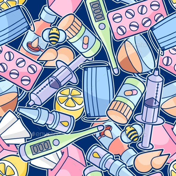 GraphicRiver Seamless Pattern with Medicines and Medical 20457730