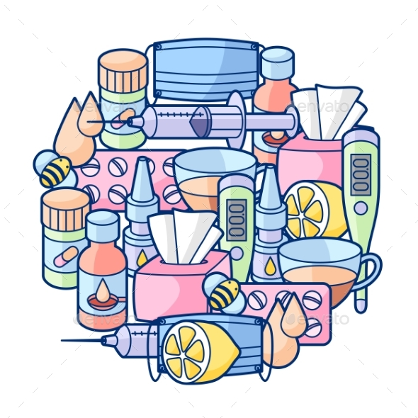 Background with Medicines and Medical Objects - Health/Medicine Conceptual
