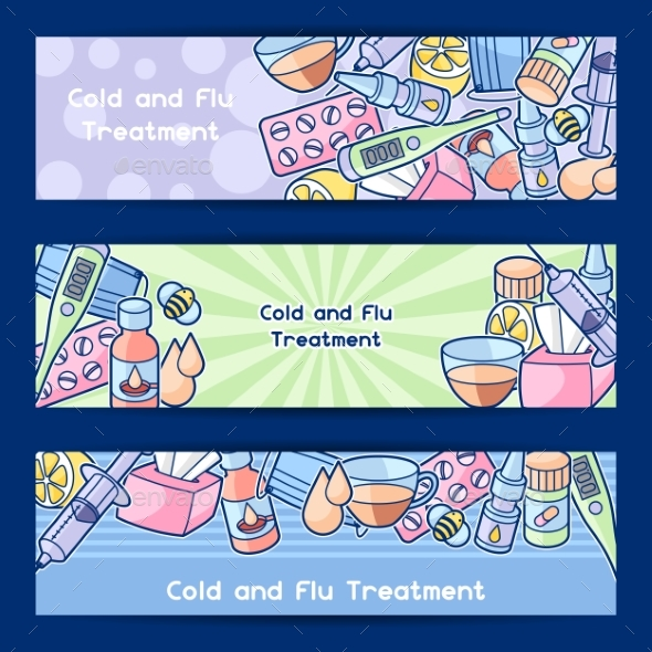 Banners with Medicines and Medical Objects - Health/Medicine Conceptual