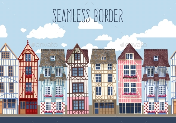 Old Town Seamless Border - Buildings Objects