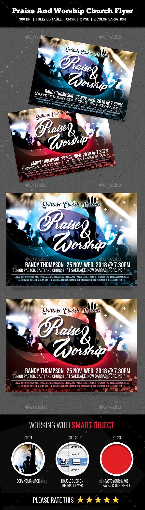 Praise And Worship Church Flyer - Church Flyers