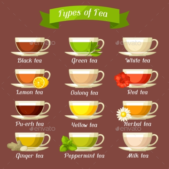 Types of Tea. Set of Glass Cups with Different - Food Objects