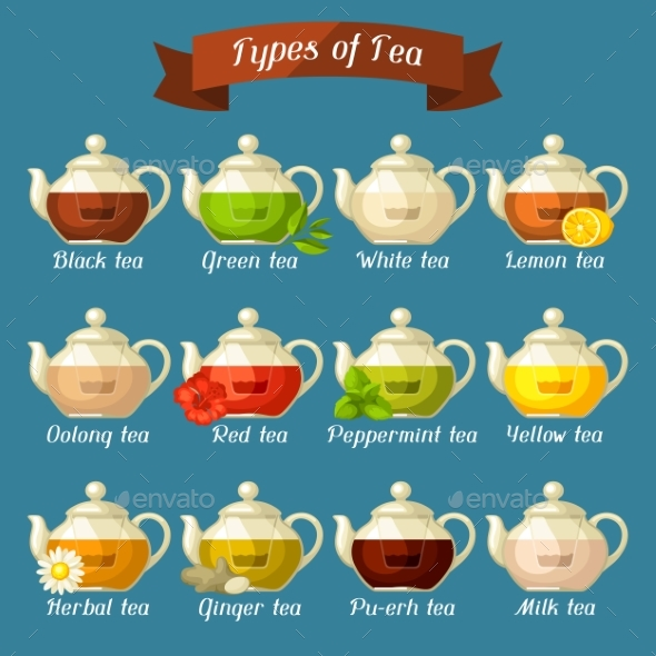 Types of Tea. Set of Glass Kettles with Different - Food Objects