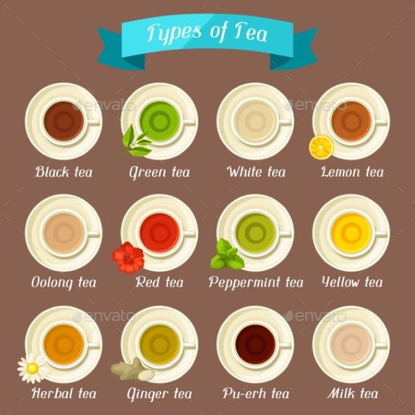 Types of Tea. Set of Ceramic Cups. - Food Objects