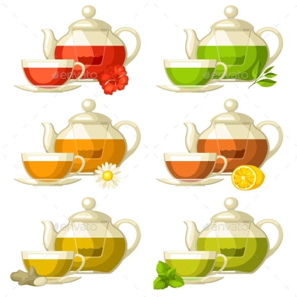 Types of Tea. Set of Glass Cups and Kettles - Food Objects