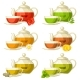 Types of Tea. Set of Glass Cups and Kettles - GraphicRiver Item for Sale