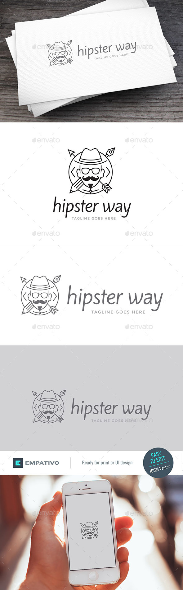 Hipster Way Logo Template - Humans Logo Templates