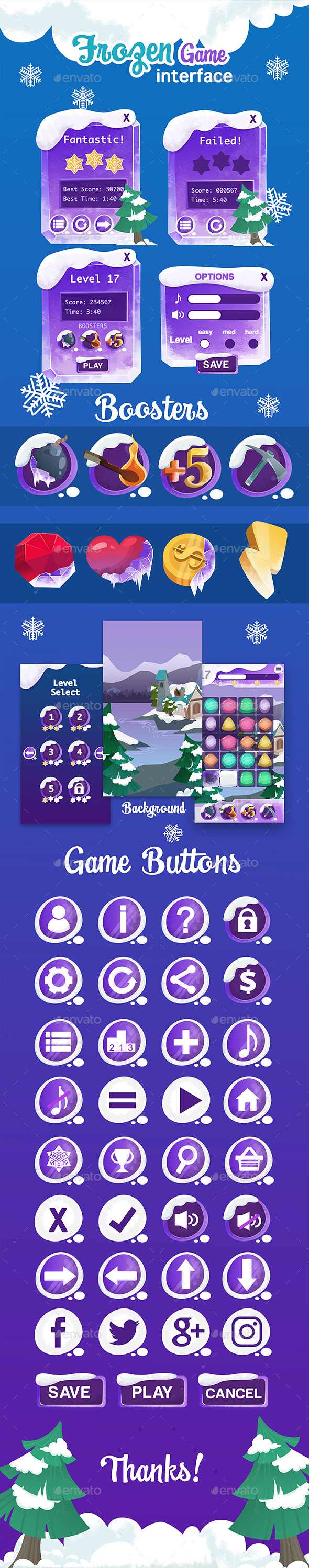 Frozen Game Interface - User Interfaces Game Assets
