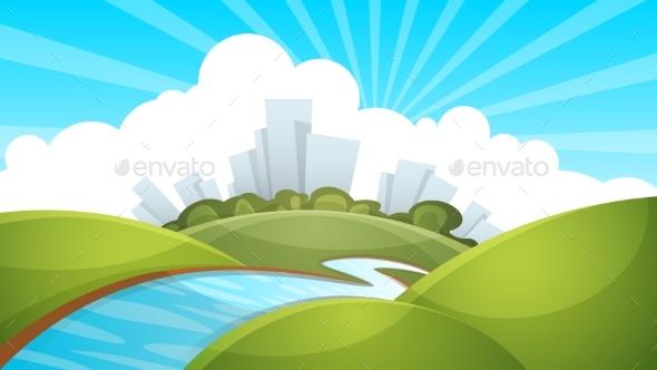Landscape, City, River, Cloud, Sun. - Buildings Objects