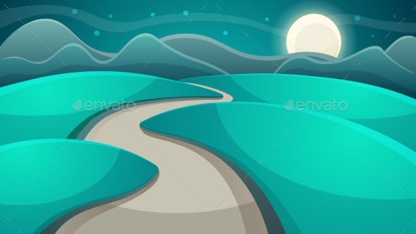 GraphicRiver Cartoon Night Landscape Moon and Cloud 20458951