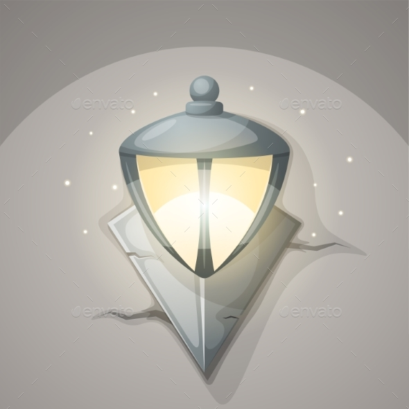 Lamp Wall Cartoon Illustration. - Objects Vectors