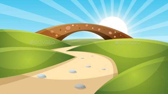 Cartoon Landscape Illustration. Sun. Cloud - Landscapes Nature