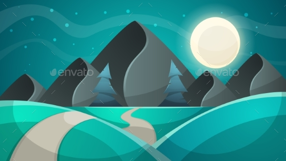 Cartoon Night Landscape. Fir, Moon Illustration - Landscapes Nature