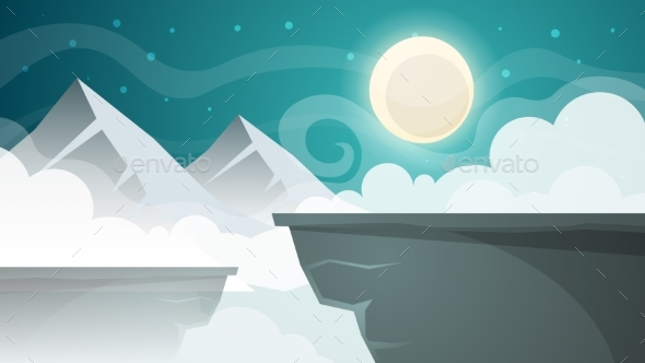 Cartoon Night Landscape. Mountain, Moon - Landscapes Nature
