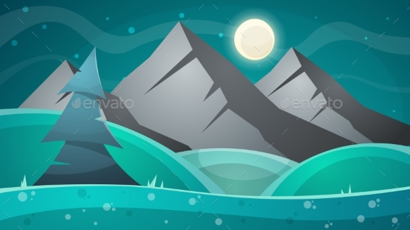 Cartoon Night Landscape. Comet, Moon, Mountains - Landscapes Nature