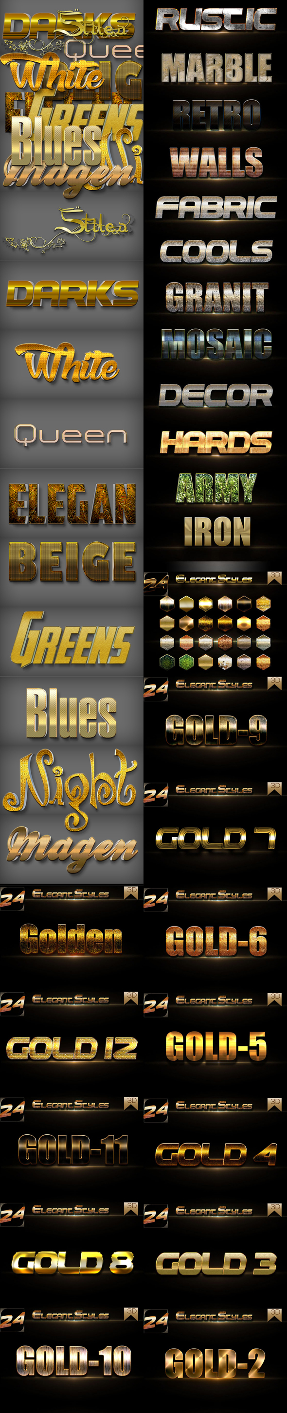30 Bundle 3D Text Styles D1-D4 - Styles Photoshop