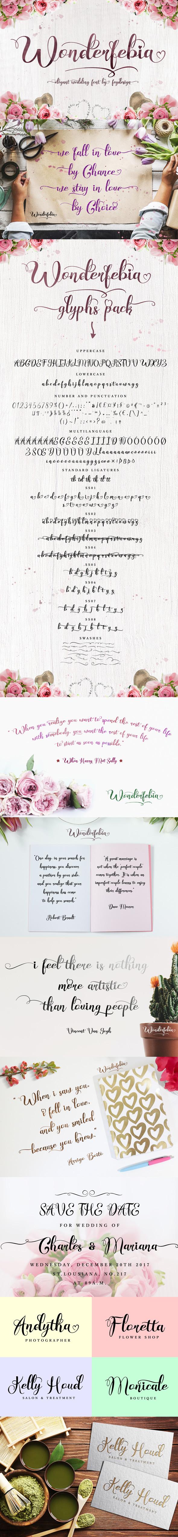 Wonderfebia - Script Wedding Font - Script Fonts