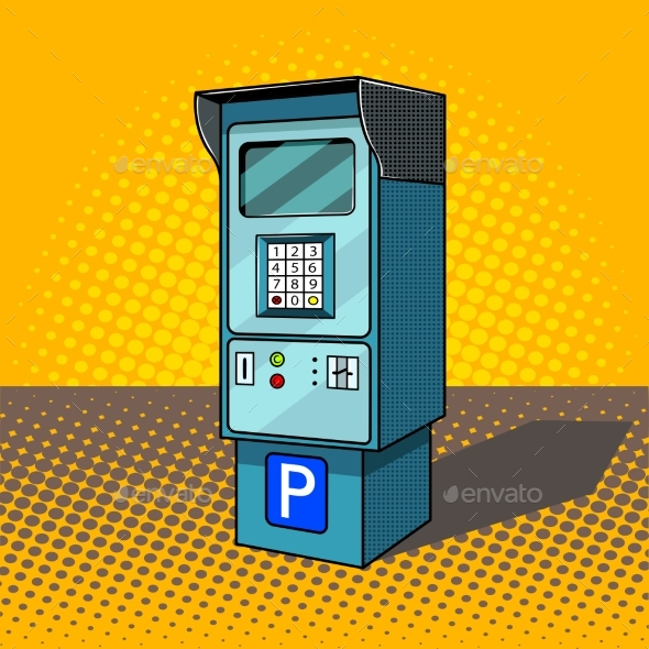 GraphicRiver Parking Meter Pop Art Style Vector Illustration 20459460