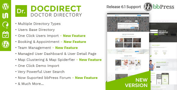 Directory DocDirect - Responsive WordPress Theme for Doctors and Healthcare Directory