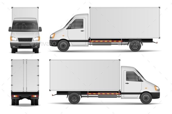 Cargo Van Isolated on White. City Commercial