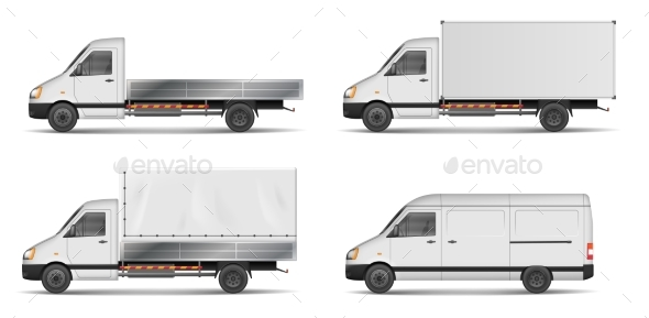 Set of Realistic White Cargo Vehicles. Vector - Man-made Objects Objects
