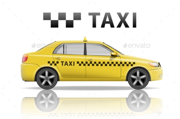 Yellow Taxi Cab Isolated on White Background - Man-made Objects Objects