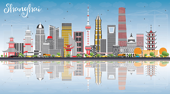 Shanghai Skyline with Color Buildings, Blue Sky and Reflections. - Buildings Objects