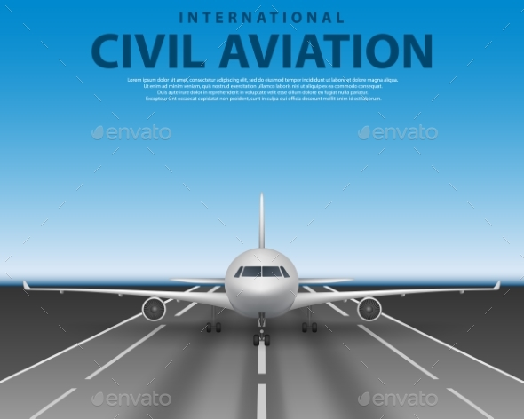 Civil Passenger Airliner Jet on Runway. Commercial - Man-made Objects Objects