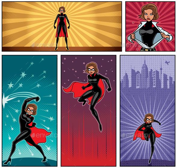Super Heroine Banners 5 - Characters Vectors