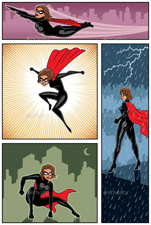 Super Heroine Banners 6 - Characters Vectors