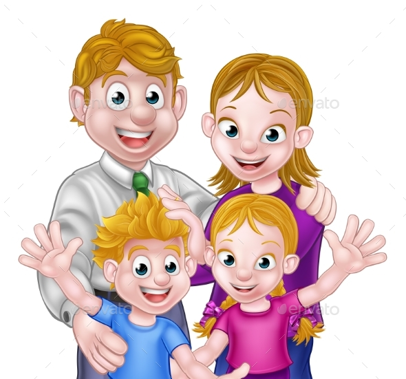 GraphicRiver Cartoon Parents and Kids 20460145