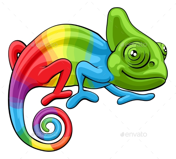Chameleon Cartoon Rainbow Character - Animals Characters
